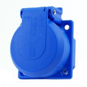 Schuko Einbausteckdose Blau mit großem Deckel